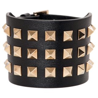 Valentino Rockstud Wide Calf Leather Bracelet