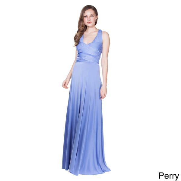 Von Ronen Women's Bridesmaid Convertible Wrap Long Cocktail Gown Maxi Dress