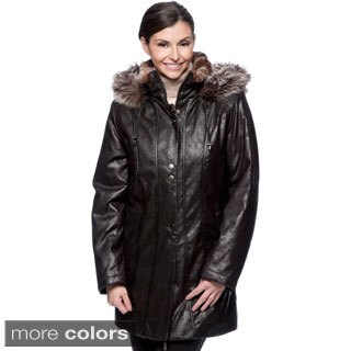 Nuage Women's Faux Fur/ Leatherette Napa Coat