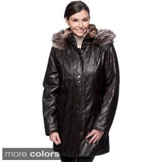 Nuage Women's Faux Fur/ Leatherette Napa Coat