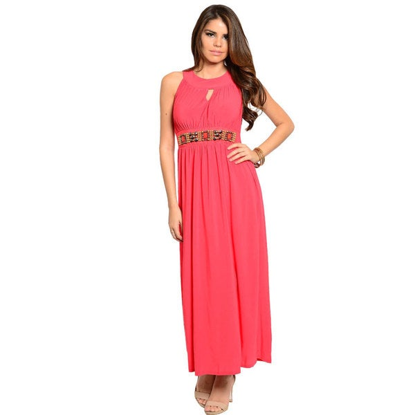 Stanzino Women's Sleeveless Maxi Dress with Waist Beading Detail