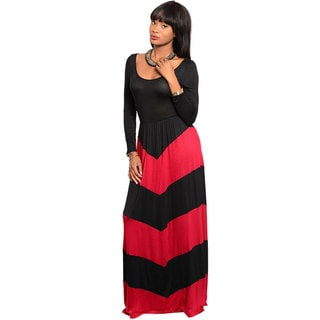 Stanzino Women's Black and Wine Long Sleeve Colorblocked Maxi Dress