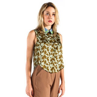 Women's Bird Print Studded-collar Blouse
