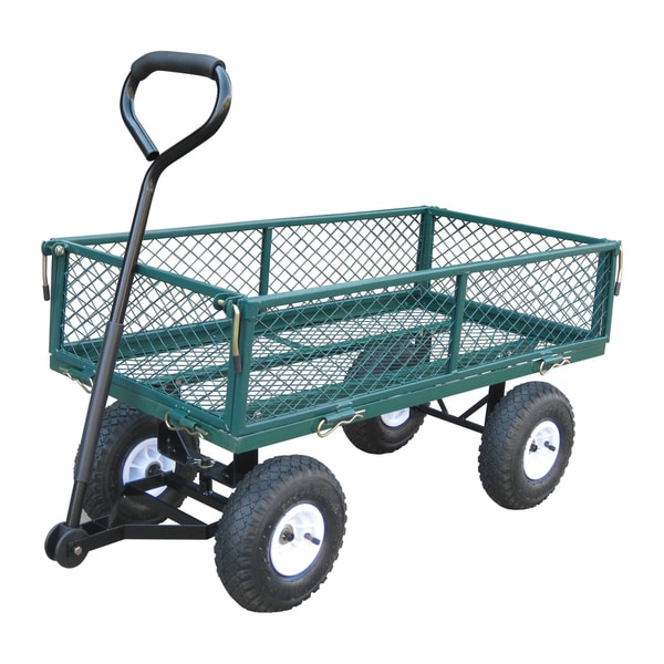 Plastic Garden Wagon Large Tires Gardening Cart Pneumatic Wheels