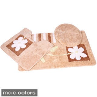 Floral 3-piece Bath Rug Set