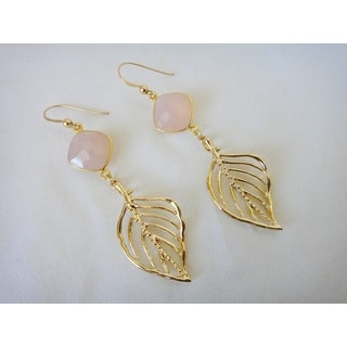 22k Gold Vermeil Bezel-set Pink Chalcedony Goldplated Dogwood Leaf Dangle Earrings