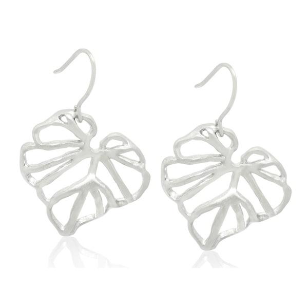 Gioelli Sterling Silver Brushed Leaf Dangle Earrings