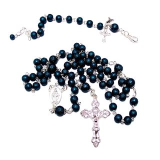 Royal Blue MoonScape Crystal Pearl Rosary and Bracelet Jewelry Set
