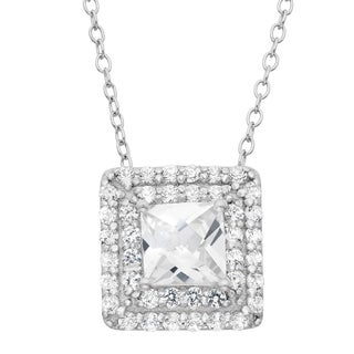 Gioelli Sterling Silver Created White Sapphire Square Pendant Necklace