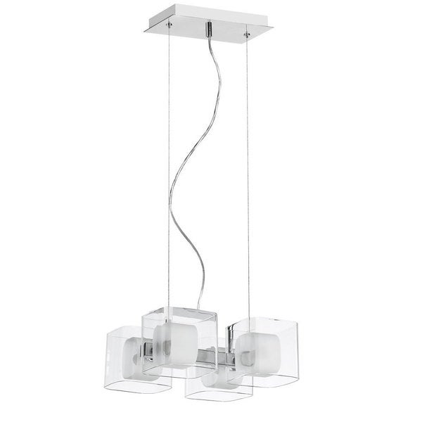 Dainolite Courtney 4-light Frosted Glass/ Polished Chrome Pendant
