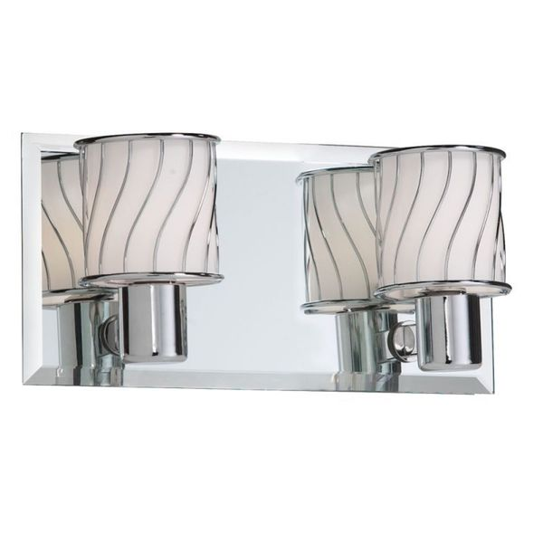 2-light Polished Chrome/ Beveled Mirror Back Plate Vanity Fixture
