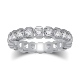 14k White Gold 2ct TDW Certified Round Diamond Box-style Eternity Ring (G-H, I1-I2)