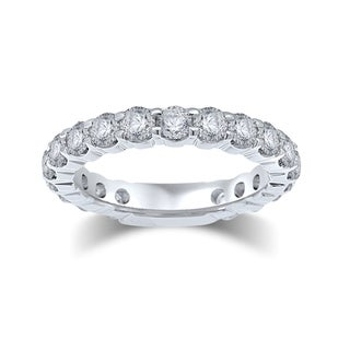 Unending Love 14k White Gold 3ct TDW Certified Diamond Eternity Band (G-H, I1-I2)