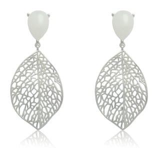 Gioelli Sterling Silver Brushed Leaf with White Jade Dangle Earrings