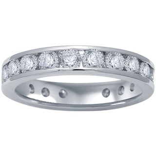 14k White Gold 2ct TDW Certified Round Diamond Eternity Band (G-H, I1-I2)