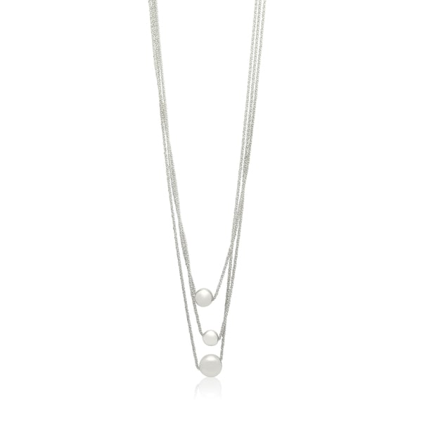 Gioelli Sterling Silver Italian Designer Multi Row Triple Bead Chain Necklace