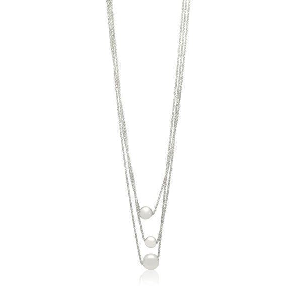 Gioelli Sterling Silver Italian Designer Multi Row Triple Bead Chain Necklace