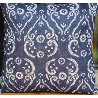 Auburn Textiles Jute Printed Flower Decorative Throw Pillow