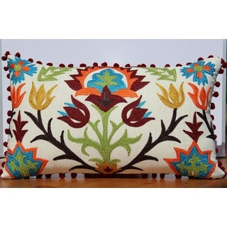 Cotton Floral Embroiderd 12 x 20-inch Decorative Throw Pillowcase
