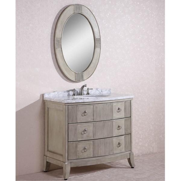 Carrara white marble top single sink bathroom vanity w for Overstock com vanities