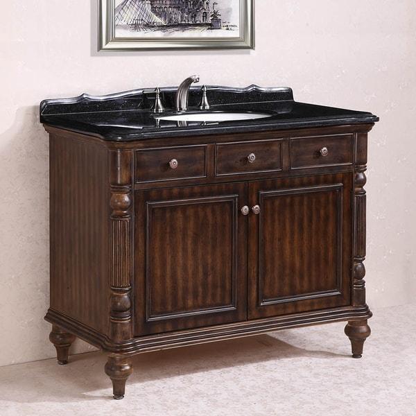 Absolute Black Granite Top Single Sink Bathroom Vanity in Walnut