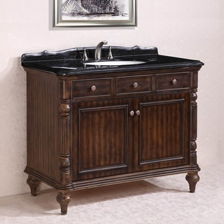 Absolute Black Granite Top Single Sink Bathroom Vanity in Walnut