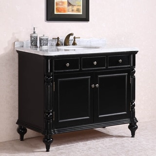 Carrara White Marble Top Single Sink Bathroom Vanity In Black Overstock Sho