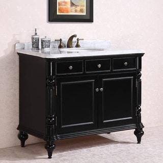 Carrara White Marble Top Single Sink Bathroom Vanity in Black
