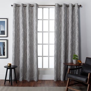 Finesse Faux Linen Grommet Top Curtain Panel Pair