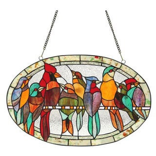 Tiffany Style Bird Design Round Stained Glass Window Panel