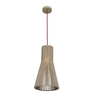 "Access Lighting Kobu Real Wood 10"" inch Cone Pendant"