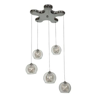 Access Lighting Aeria Metal Foil Clear Glass Pendant Cluster with Pentagon
