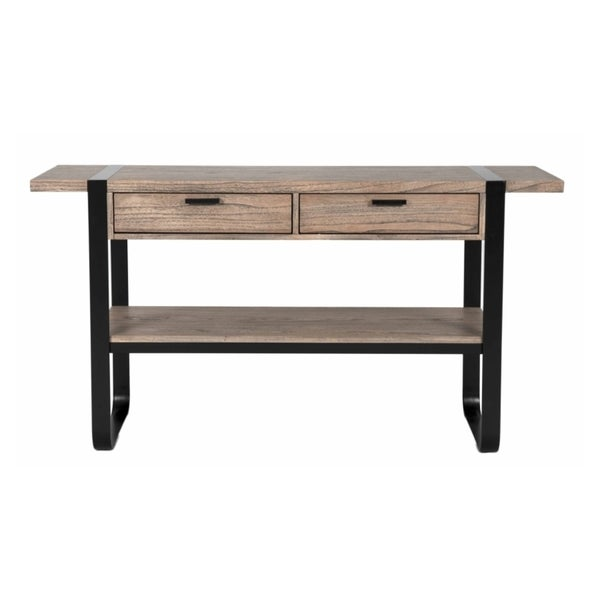 Owen Black Iron Cappucino Console Table