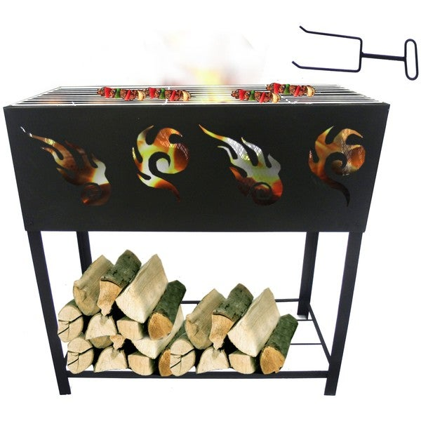 BBQ Fire Pit and Log Rack