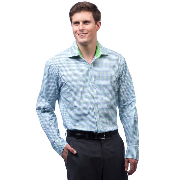 Bristol & Bull Men's Green and Blue Plaid Woven Shirt