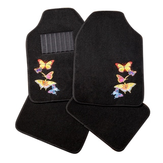 Adeco Black Butterfly Detail Carpeted 4-piece Vehicle Floor Mats