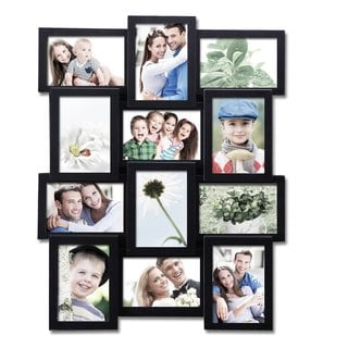 Adeco 12-pening Plastic Black Wall Hanging Collage Photo Frame