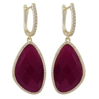Gold over Sterling Silver Semi-precious Stones with Cubic Zirconia Dangling Earrings