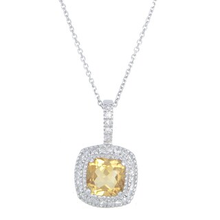 14k White Gold 1/5ct TDW Diamond and Citrine Pendant Necklace (G-H, I1-I2)