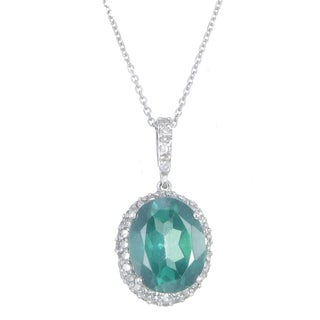 14k White Gold 3/8ct TDW Diamond and Green Topaz Pendant Necklace (G-H, I1-I2)