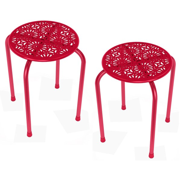 Daisy Stackable Metal Stool (Set of 2)