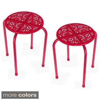 Daisy Red Metal Side Table/ Stool (Set of 2)