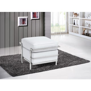 Stainless Steel Leather Cube Ottoman