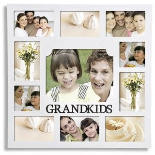Adeco 'Grandkids' White Wooden 11-opening Collage Photo Frame