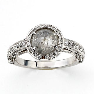 Diamonds for A Cure 18k White Gold 2 1/2ct TDW Grey and White Rough Diamond Ring (H-I, SI1-SI2)
