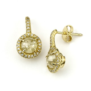 Diamonds For A Cure 18k Yellow Gold Fancy Yellow Diamond Drop Earrings (SI1-SI2)