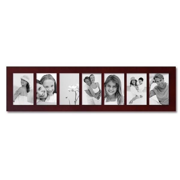 Adeco 7 Opening Walnut 4x6 Collage Picture Frame