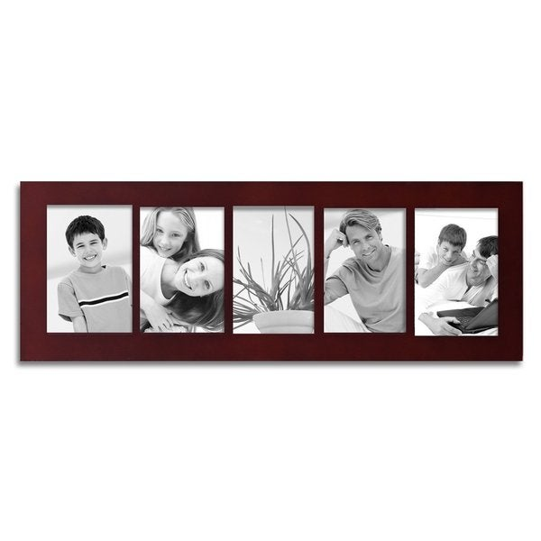 Adeco 5 Opening Walnut 4x6 Collage Picture Frame