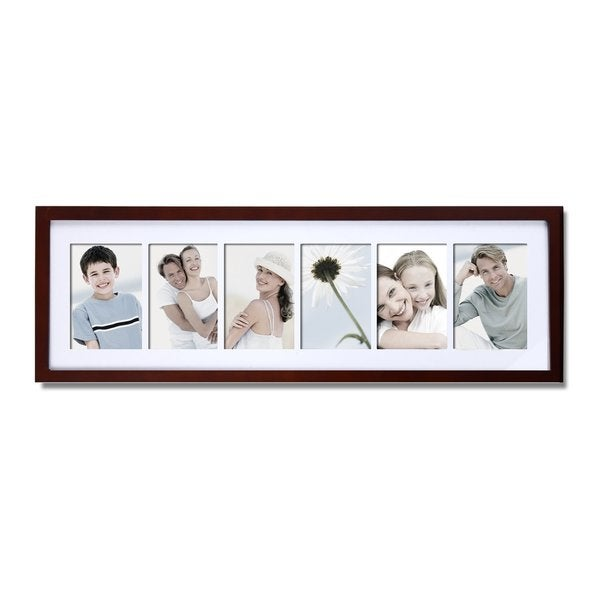 Adeco 6 Opening Walnut Matted Wall Hanging Collage Photo