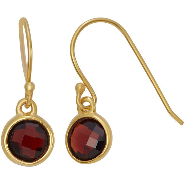 Gioelli Gold Plated Sterling Silver 6mm Checkerboard Gemstone Dangle Earrings